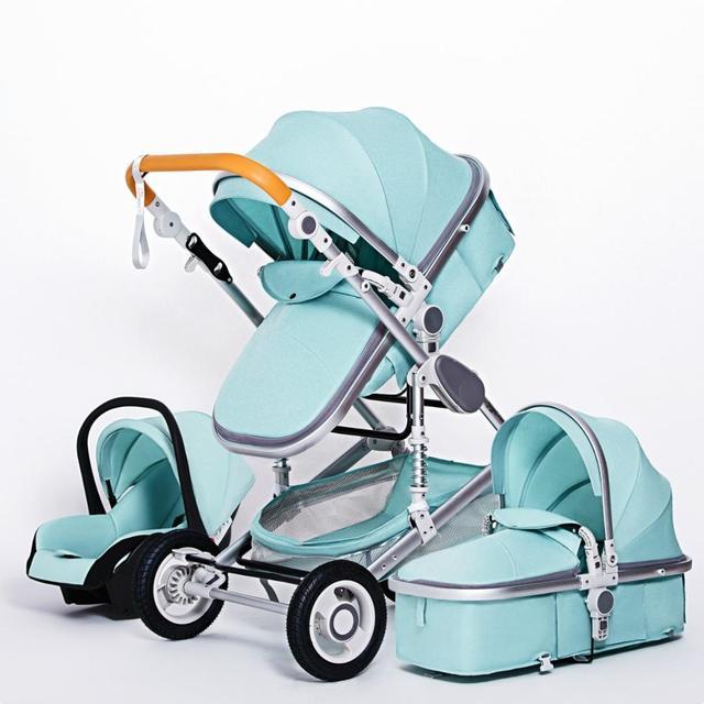 Luxuoso carrinho de bebê 3 em 1 portátil viagem carrinho de bebê dobrável carrinhos quadro alumínio alta paisagem carro para o bebê recém-nascido 4