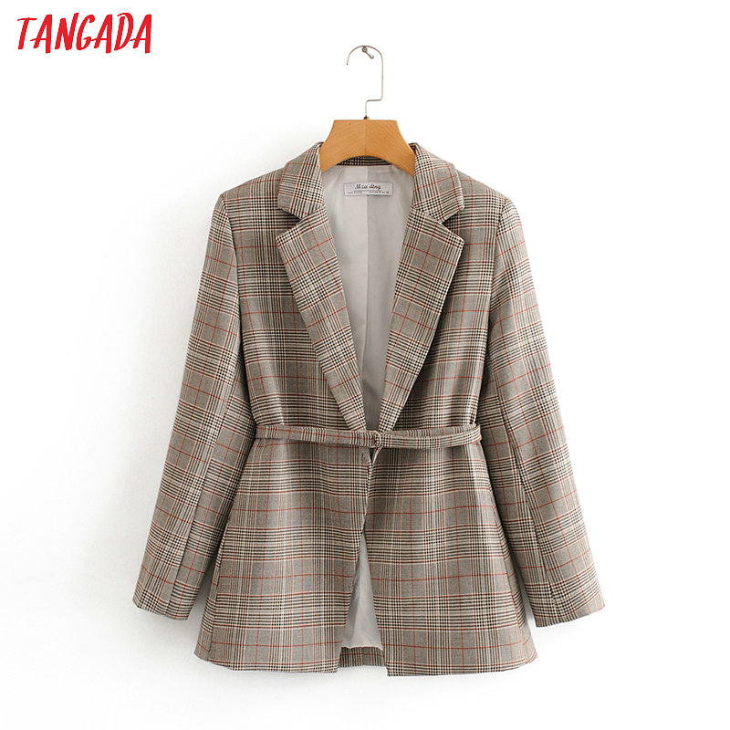 Tangada Women Vintage Plaid Blazer With Belt Female Long Sleeve Elegant Jacket Ladies Work Wear Blazer Formal Suits DA12