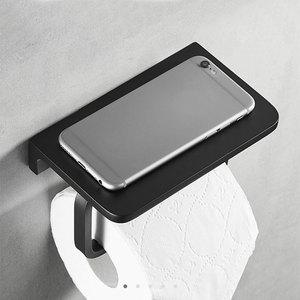 Image 3 - Bathroom Toilet Paper Holder with Mobile Phone Storage Shelf, Tissue Holder Paper Roll Dispenser Wall Mounted Black/Brushed
