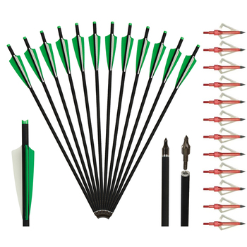 20 inch carbon Crossbow Bolts Archery Arrows with 3-Inch Vanes with 3 Blade 100grain Archery Broadheads for Competition Practice 3 inch