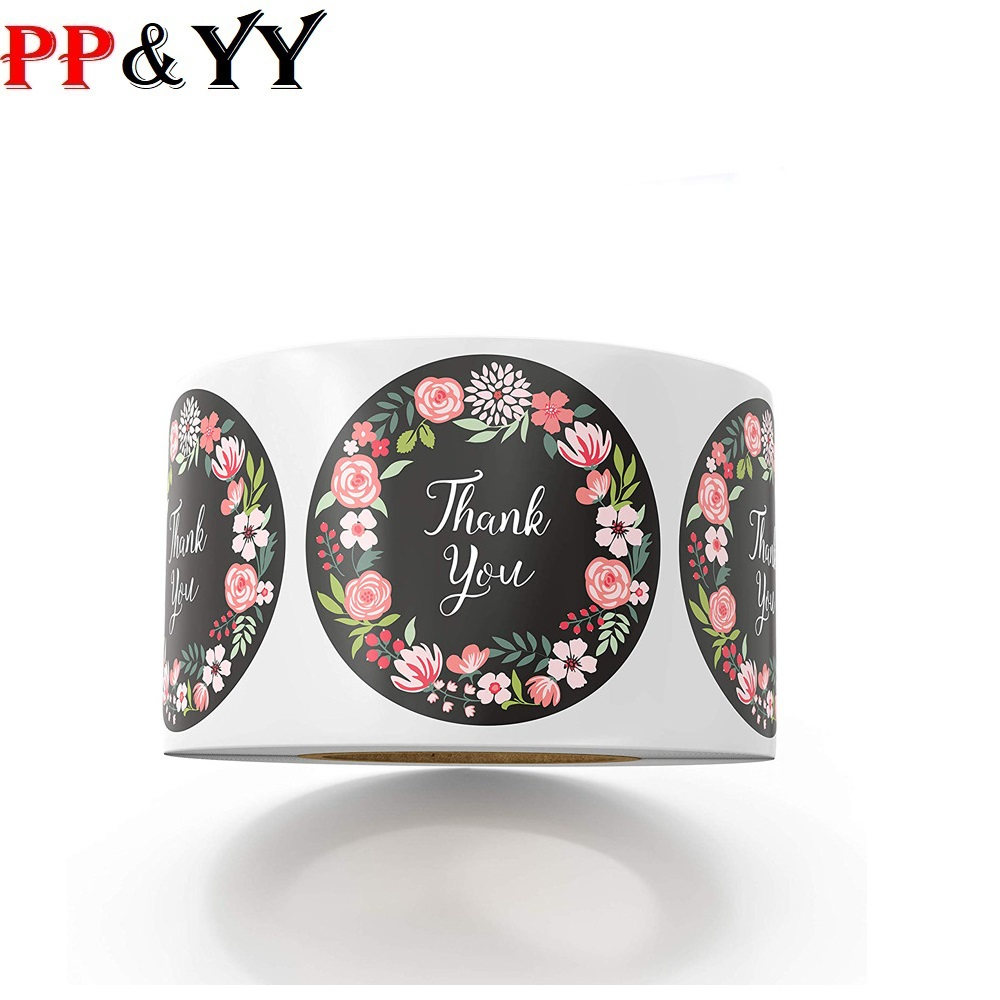500pcs/lot Cute Flower Thank You Series Round Sticker Seal Labes Mutifunction DIY Decorative Gifts Package Labels For Baking