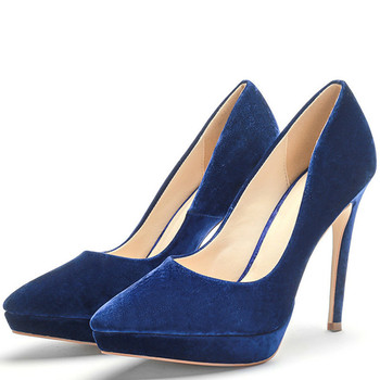 YECHNE Stiletto Women's Blue Pumps High Heels Shoes Plus Size 43 Wedding Party Woman Shoes Fashion Pointed Toe Sexy Pumps