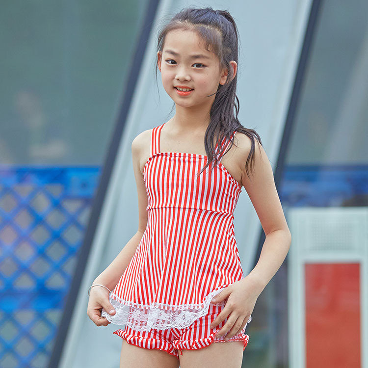 Girls Princess Korean-style Hot Springs Swimsuit 2018 New Style Children Split Type Lace Stripes Baby Swimwear
