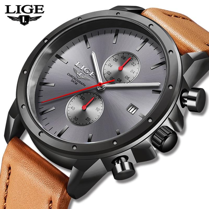 2019 LIGE New Fshion Mens Watches Top Brand Luxury Sports Quartz Watch Men Waterproof Chronograph Nylon Watch Relogio Masculino