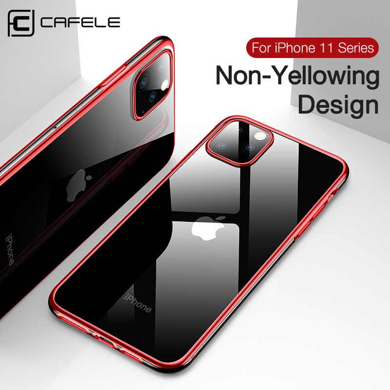 Cafele יוקרה ציפוי מקרה עבור iPhone 11 פרו מקס רך TPU שקוף טלפון מקרה עבור iPhone 11 פרו מקסימום Ultra דק כריכה אחורית