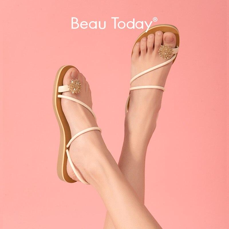 BeauToday Beach Slippers Women Sheepskin Leather Microfiber Crystal Detailed Flip-Flops Summer Ladies Flat Shoes Handmade 36099