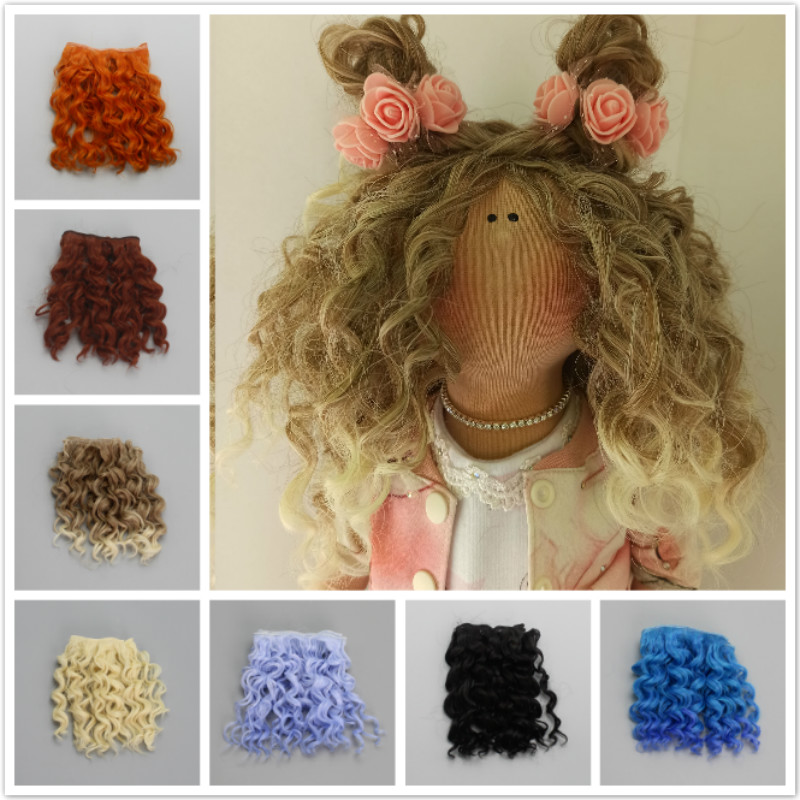 15*100cm High Quality Screw Curly Hair Extensions for All Dolls DIY Hair Wigs Heat Resistant Fiber Hair Wefts Accessories toys