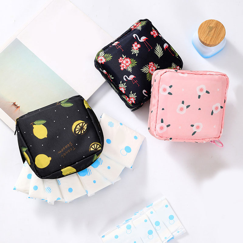 Women Small Floral Print Cosmetic Bag Travel Sanitary Napkins Card Lipstick Pouch Bag 2019 Casual Beauty Case Pouch