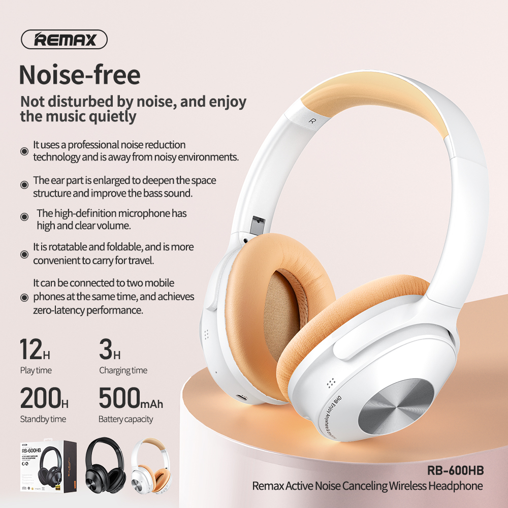 Remax rb-600hb active noise cancelling over ear headphone hifi rotatable foldable Portable professional noise reduction