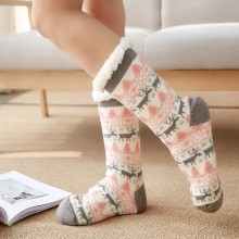 Новинка, женские носки, зимние рождественские хлопковые забавные Женские носочки с принтом, уличная одежда, толстые Нескользящие женские носки-Тапочки
