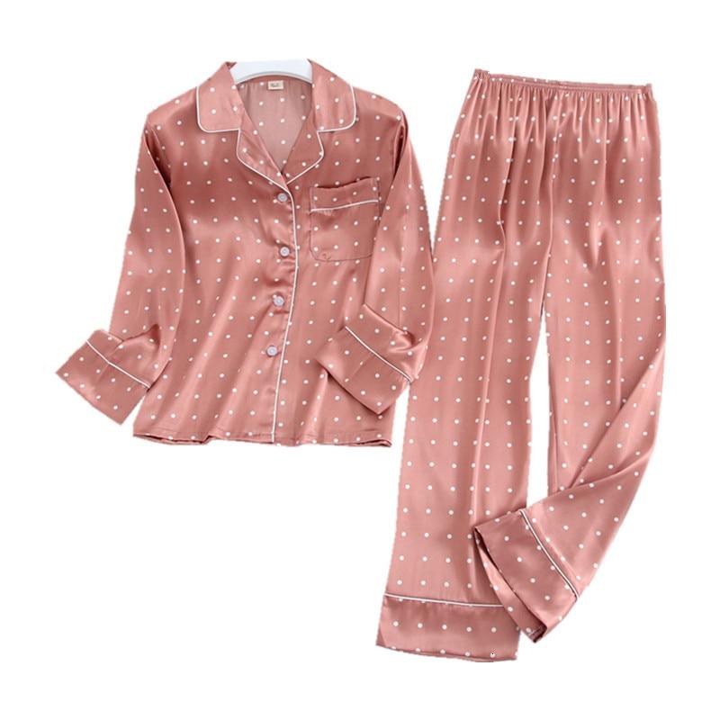 Image 5 - Lisacmvpnel Long Sleeve Pajamas Autumn Ice Silk Long Sleeve Trousers Suit Printing Fashion Pyjamas SetPajama Sets   -