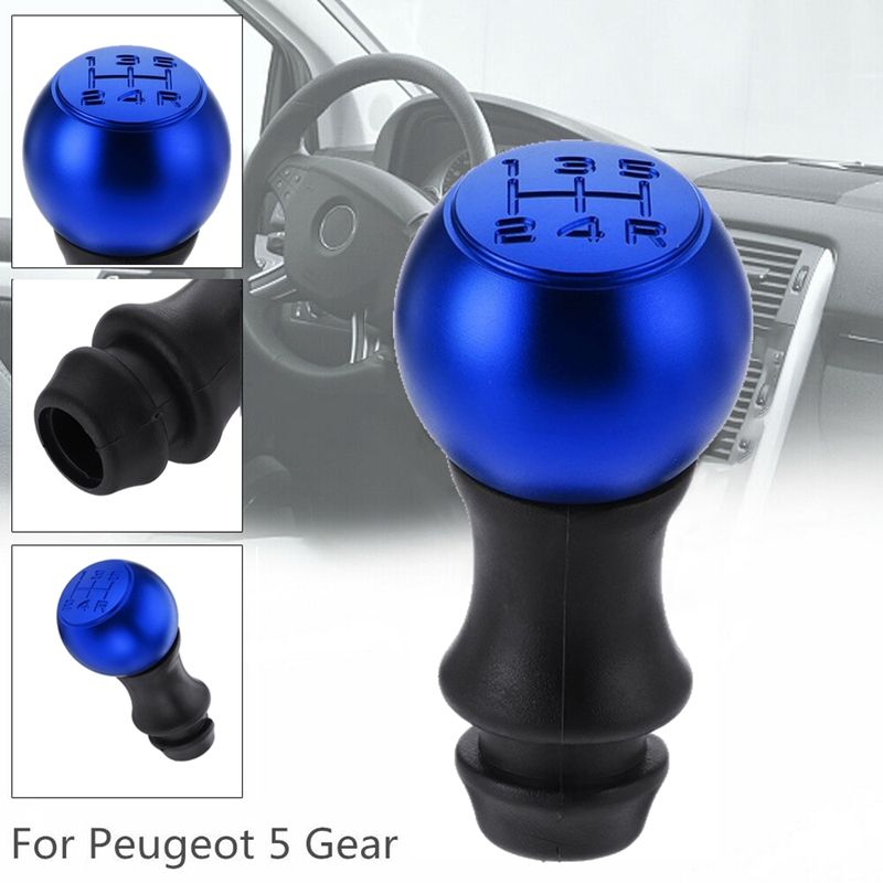 5 Speed Blue Car Gear Shift Knob Lever Shifter Handle Stick for <font><b>Peugeot</b></font> 106 206 207 <font><b>307</b></font> 308 406 408 Car Accessories image