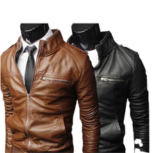 COLDKER  Mens PU motorcycle leather collar British business high-end leather coat quality coat jacket