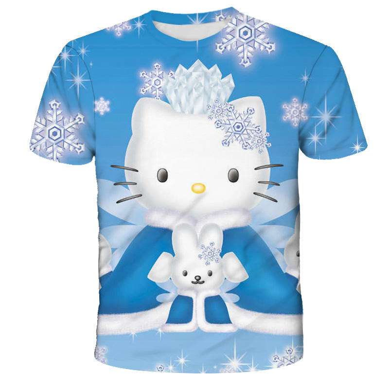 2021 Girl Summer Clothes Kitty Cat Printed Childrens Clothes T-Shirt Funny Breathable Girls Tops Cute Cartoon Kids Short Sleeves