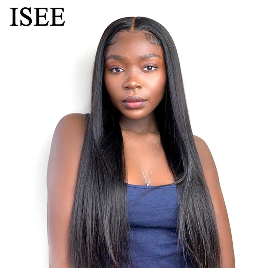 Malezya düz peruk kadınlar için 150% yoğunluk 4*4 dantel kapatma peruk ISEE saç düz 6*6 dantel kapatma İnsan saç peruk
