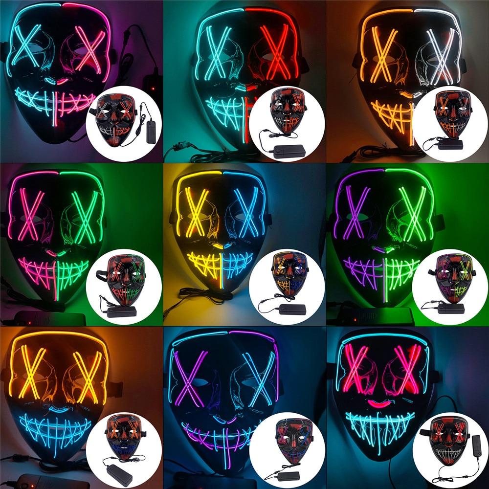 1Pc masque néon lumière LED Up fête masques la Purge élection année grands masques drôles Festival Cosplay Costume fournitures lueur dans l'obscurité
