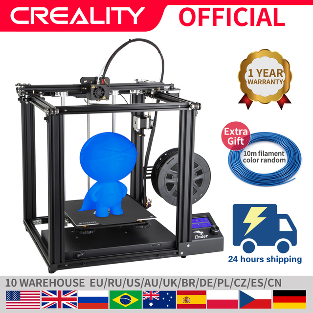CREALITY 3D מדפסת Ender 5 עם לנדי יציב כוח, V1.1.3 mainboard, מגנטי לבנות צלחת, כיבוי לחדש הדפסת מסכות
