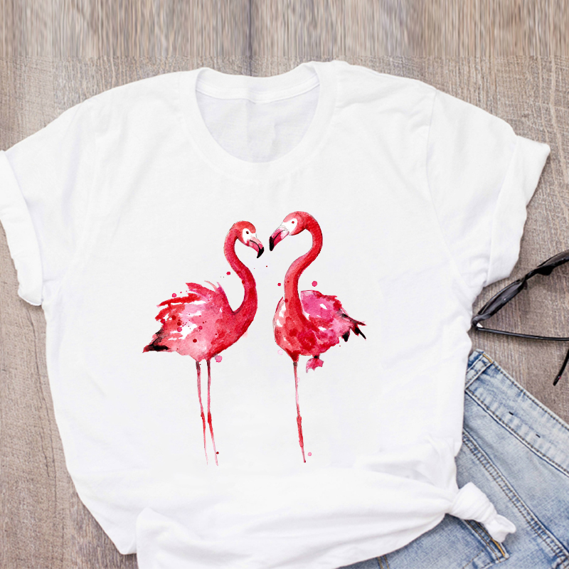 Women Graphic Cartoon Flamingo Beach Watercolor Print Summer T-Shirt Shirt Tops Lady Clothes Womens Clothing Tee Female T Shirt