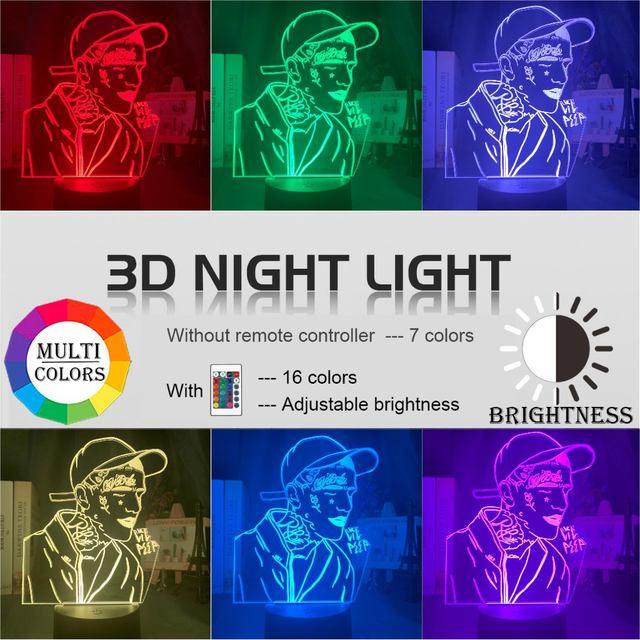 16 COLOR MODE LIL PEEP 3D LED LAMP (2 VARIAN)