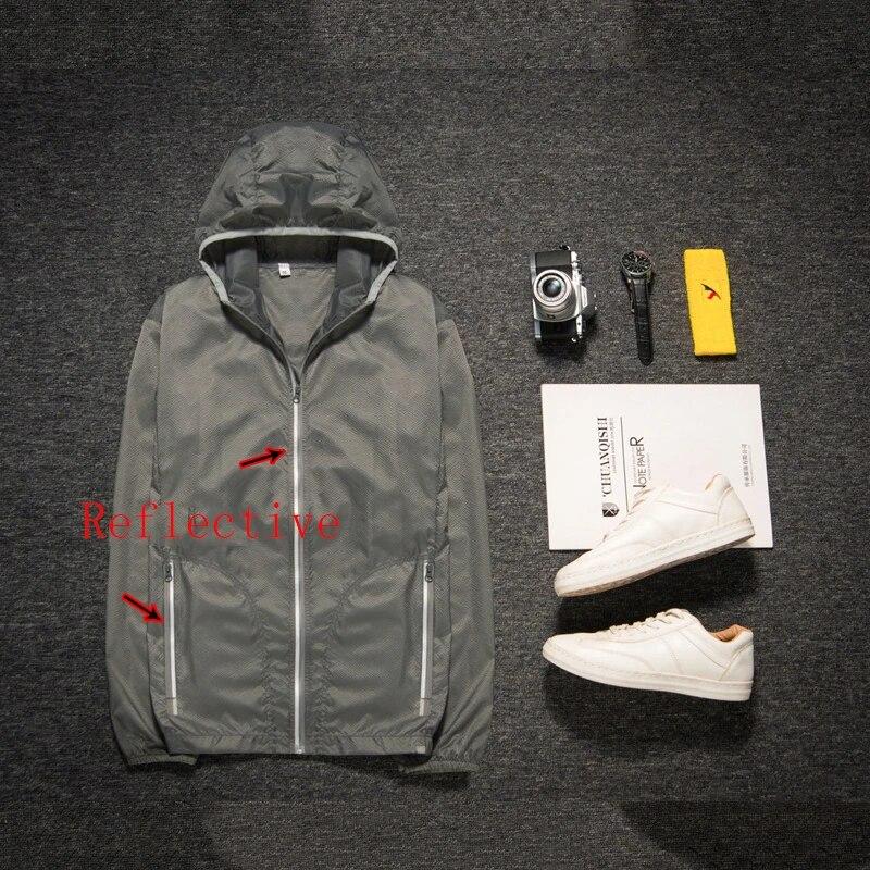 Men Thin Reflective Hooded Waterproof Windbreaker ZIPPER Jacket Light Sports 7XL