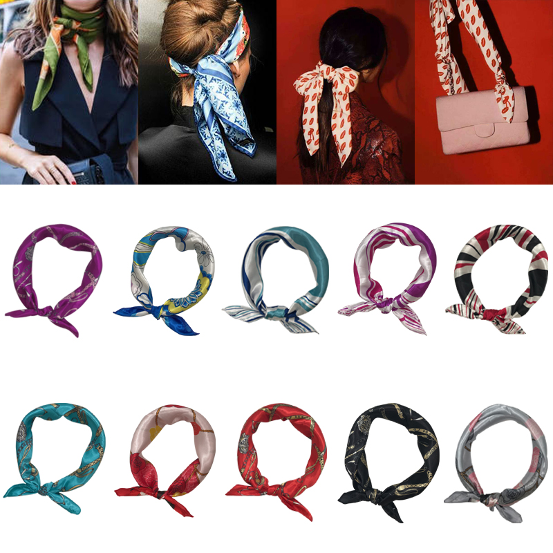 2020 New Fashion Scarf Square Tie Satin Small Silk Neck Ring Square Scarf Winter Head Scarf For Women Neckerchief Fashion 50*50