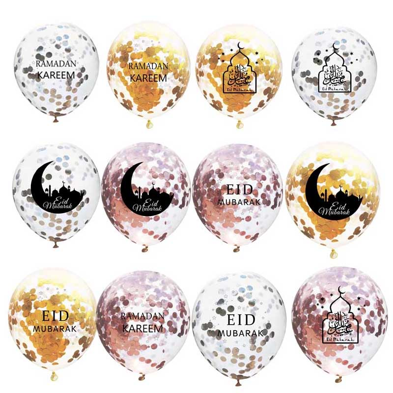 10PCS Eid Mubarak Confetti Balloons Eid Balloon Happy Ramadan Muslim Festival Decoration Lslamic Ramadan Kareem Eid Supplies