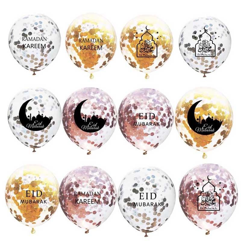 10PCS Eid Mubarak Confetti Balloons Eid Balloon Happy Ramadan Muslim Festival Decoration Lslamic Ramadan Kareem Eid Supplies