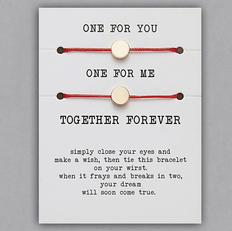 2 шт./компл. Сердце Звезда браслеты с крестообразной подвеской один для вас один для меня красная веревка плетение пара браслет для мужчин женщин карточка пожеланий - Окраска металла: BR18Y0716-2