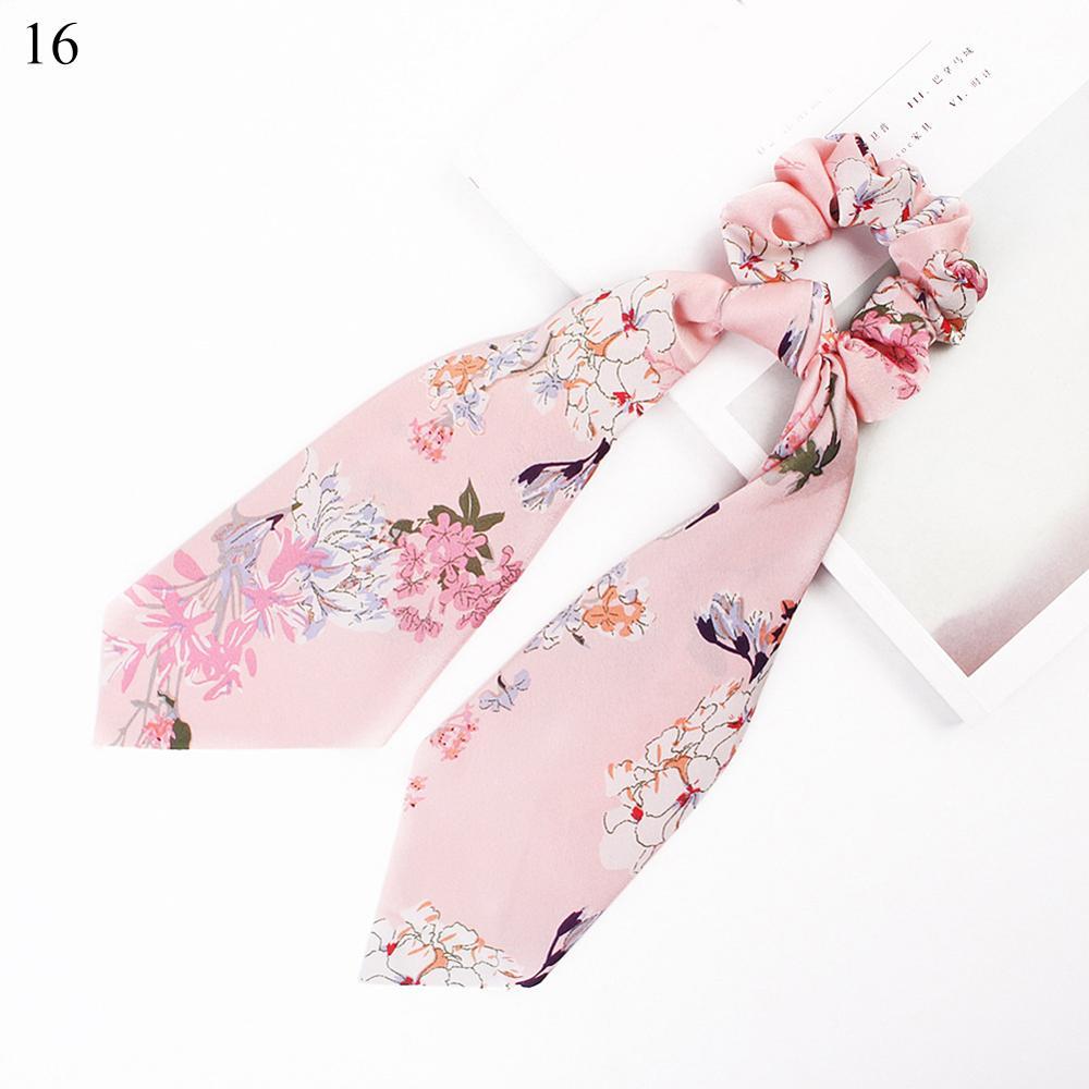 Bohème grande fleur chouchous longs banderoles arc cheveux écharpe femmes filles doux cheveux corde cravates mode cheveux accessoires chapeaux 25