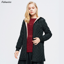 Black Belted Winter Jacket Women Fur Lined Coat Hood Reflective Plus Size Long Plaid Coat Fashion New 2019 Casual Woman Jackets faux fur lined belted jacket