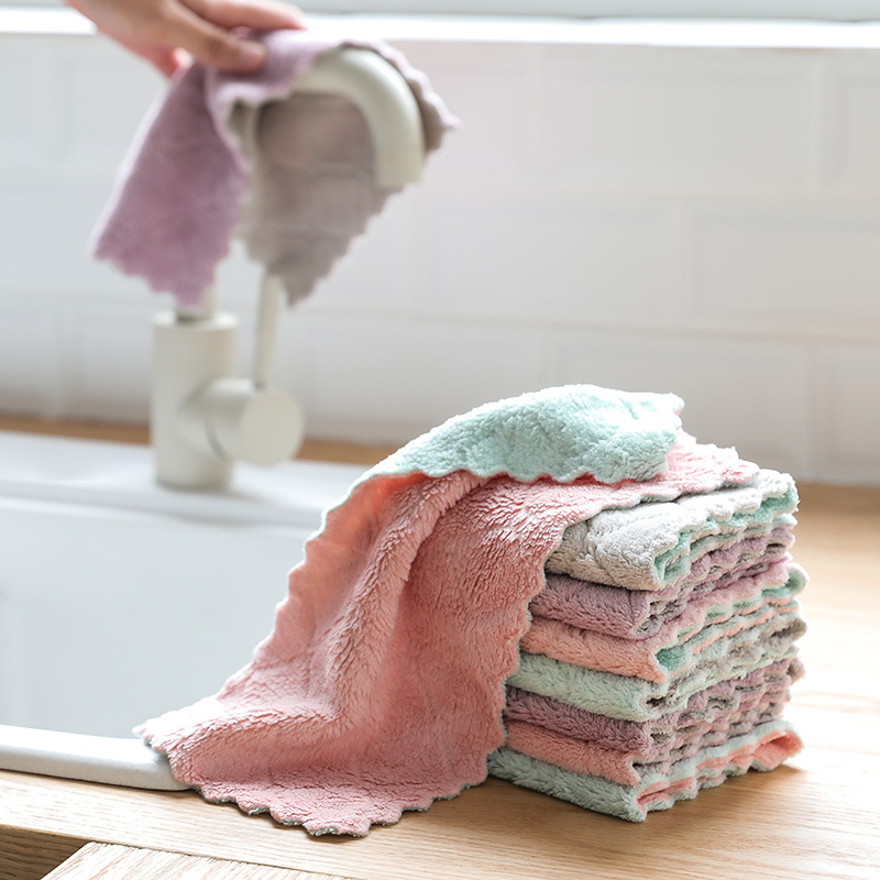 26x15cm Coral Fleece Rag Dishcloth Double-sided Baby Bathing Towl Infant Bib Kitchen Wiping Cloth Tableware Scouring Pad