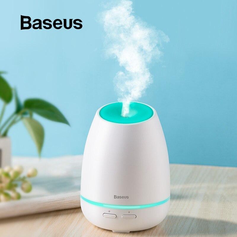 Baseus USB Aroma Difusor de Aroma de Óleo Difusor Umidificador Para Home Office Quarto Humidificador Com 7 Cor Difusor de Aroma de Ar Inteligente