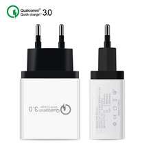 High quality 3-port fast USB mobile phone fast charger 3.0 5V / 3A EU plug wall charger for Samsung Apple iphone xiaomi Huawei vention quick charger 3 0 2 port usb charger eu plug white mobile phone charger for xiaomi htc google qc3 0 fast wall charger 3a