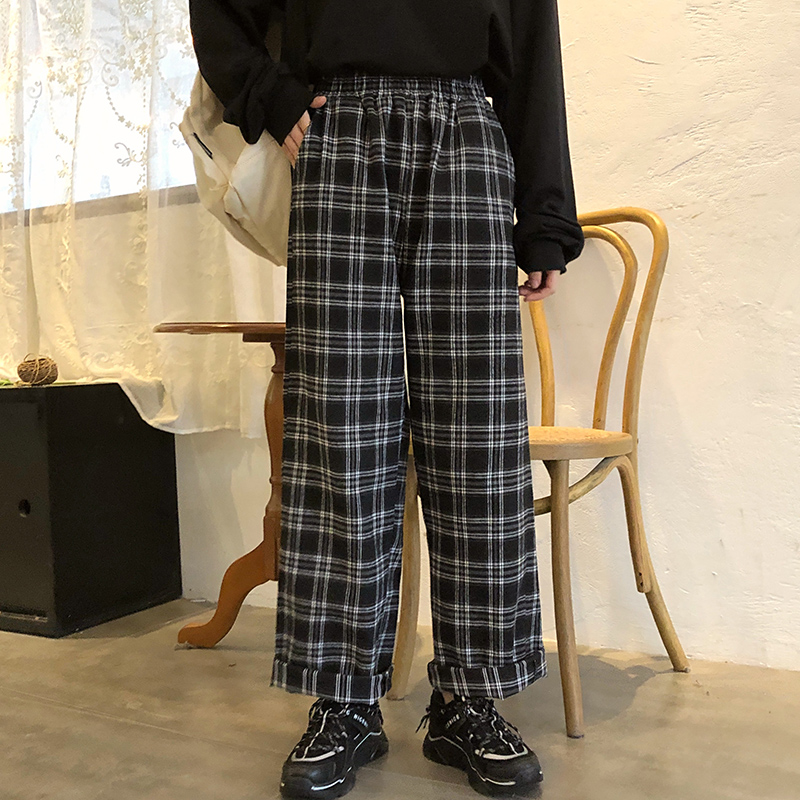 Woherb Vintage Plaid Pants Women 2020 New Harajuku Ankle Length Wide Leg Pants Korean Kawaii Girls Pants Pantalon Femme