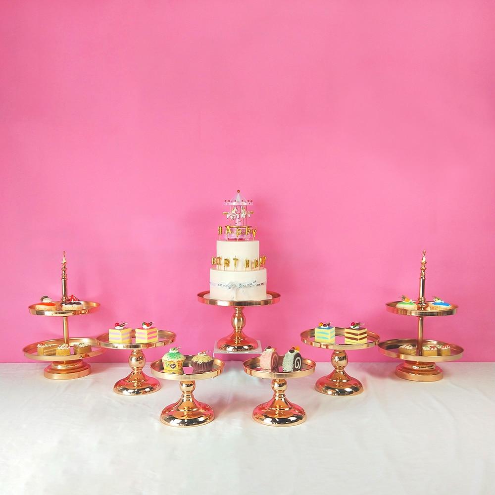 5 stücke kommen Gold Kristall kuchen ständer set Galvanik gold spiegel gesicht fondant cupcake süße tabelle candy bar tisch dekorieren-in Ständer aus Heim und Garten bei  Gruppe 3