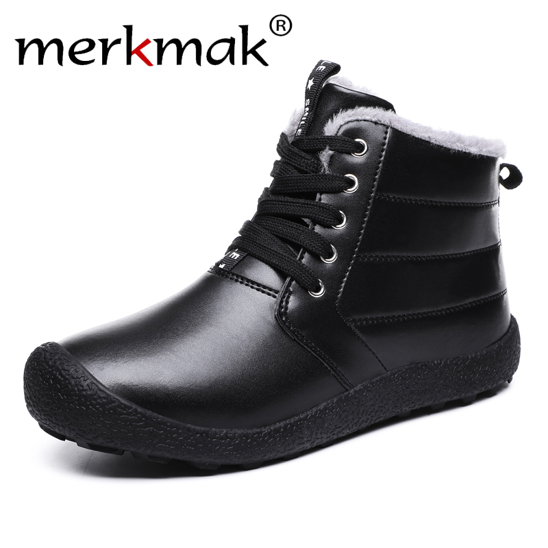 Snow-Boots Winter Lace-Up Casual Keep-Warm Merkmak Plus Cotton 48 Soft Comfortable Big-Size
