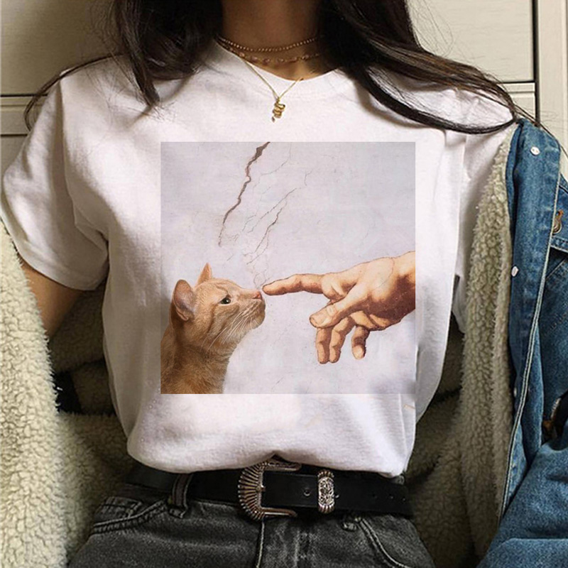 Женская футболка с изображением кота Ван Гога, красивая забавная Футболка с принтом «масло», 90 s, Повседневная футболка с рисунком ulzzang, женс...