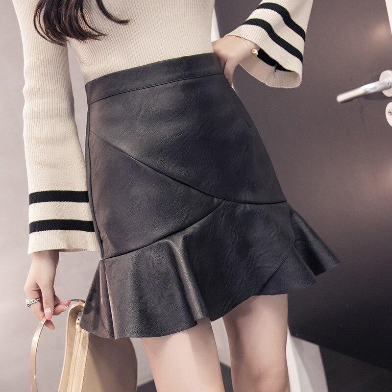 Irregular A- Line Skirt Women's Autumn And Winter INS Super Fire Short Skirt High-waisted Pu Skirt Small Leather Skirt Casual Sk