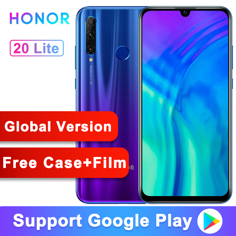 Global Version Original  Honor 20 Lite 20i Mobile Phone 6.21 Inch Kirin 710 Octa Core Android 9.0 Fingerprint Smartphone