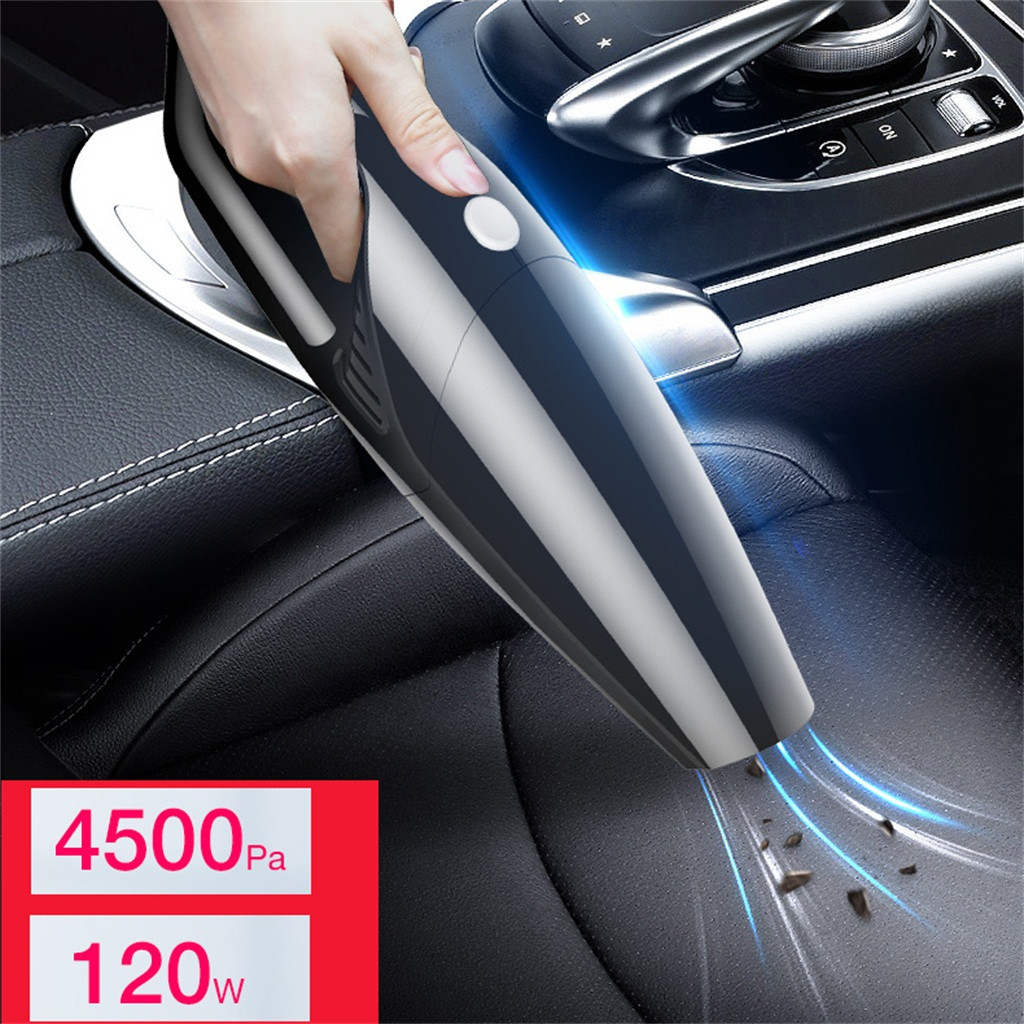 Araba elektrikli süpürge 120W 4500PA akülü el elektrikli süpürge küçük Mini taşınabilir araba oto ev kirli 0.5L siyah # Zer