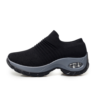Image 4 - EOFK 2020 אופנה נשים פלטפורמת נעלי אישה גברת דירות בלט מקרית נעלי ארוג גרב נעלי נוחות להחליק על שחור עגול הבוהן