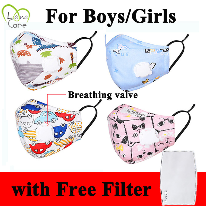 4-12 Years Children Face Mask With PM2.5 Filter Pad Boys/Girls Reusable Cotton Mask With Breathable Valve Kids Mask
