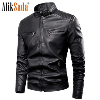 Aliksada 2020 Autumn Winter New Men Casual Classic Warm Fleece Leather Jacket Coats Men Motor Outwear Faux Leather Jackets Men