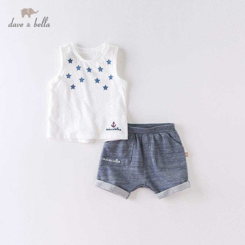 DBX13155 dave bella summer baby boys fashion stars print letter clothing sets kids handsome sleeveless sets children 2 pcs suit