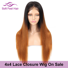 Soft Feel Hair 4x4 Ombre Lace Closure Human Hair Wigs Pre Plucked Ombre Brazilian Straight Wig For Black Women T1B/30 Remy Wig