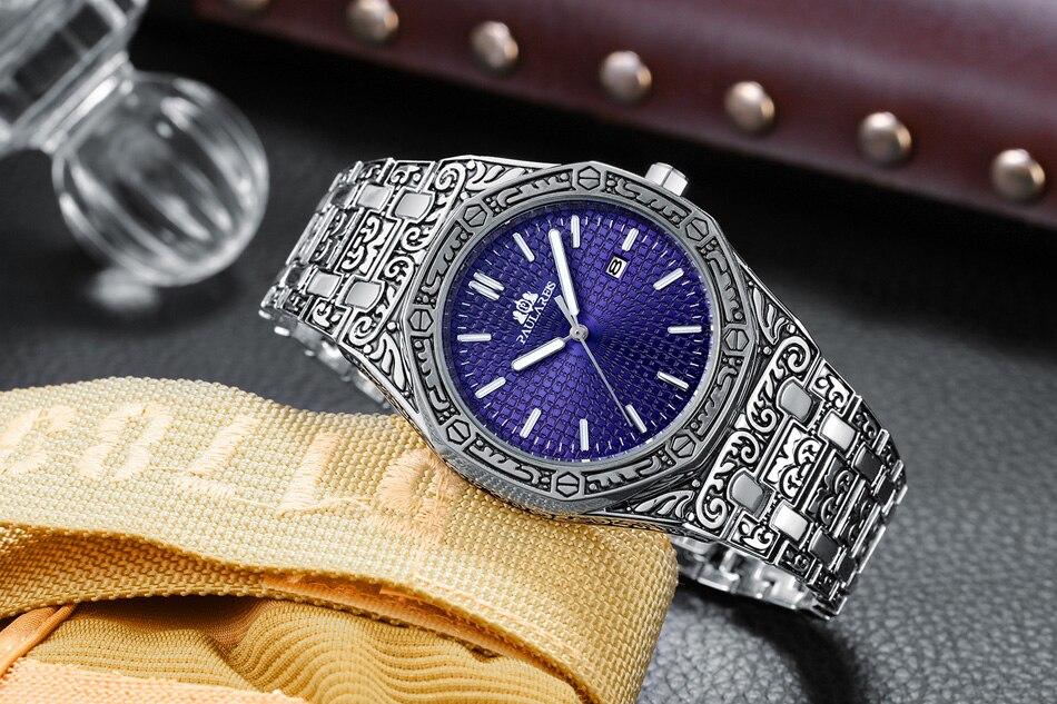 Hbfdec0290a7f40d2a4d8736c665ee69b7 Men Carved Antique Vintage Luminous Rose Gold Yellow Gold Silver 2 Tones Fashion Blue Classic Quartz luxury watch