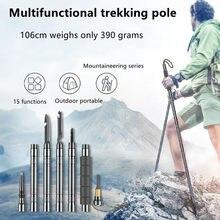 Trekking pole folding multifunctional outdoor hiking hiking self-defense stick mountain camping supplies set walking stick knife