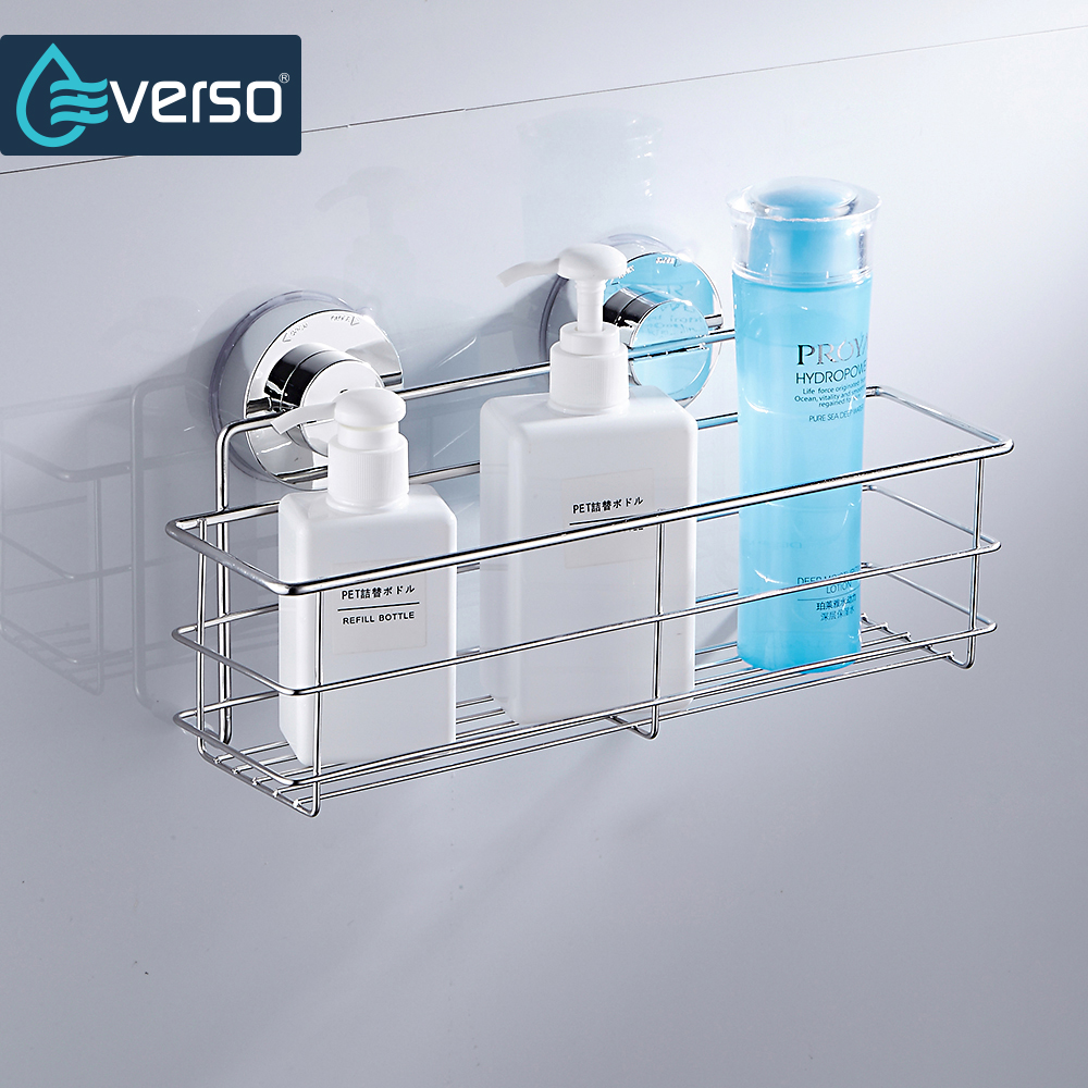 Stainless Steel Shelves Bathroom Shower Shelf Dual Sucker Bathroom Shelf Wall Mount Shelf Shampoo Holder Basket