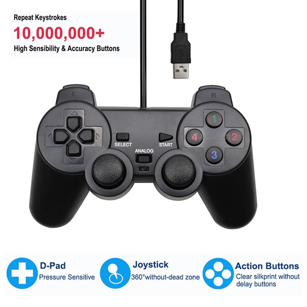 Проводной USB-контроллер, геймпад для игр, джойстик с вибрацией для playstation для WinXP/Win7/Win8/Win10, для ПК, компьютера, ноутбука