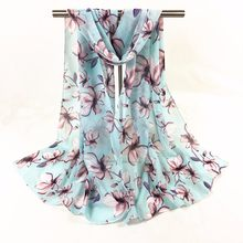 Muslim Chiffon Plum Blossom Printed Long Soft Scarf Wrap Shawl Stole Pashmina Scarves Fashion Women Winter moda mujer 2019(China)